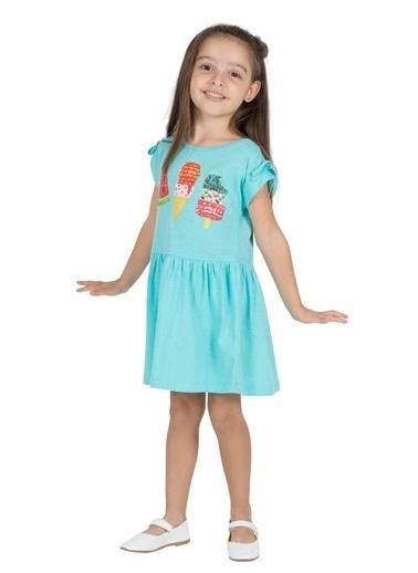 Silversun Kids Kız Çocuk Baskılı Kolları Ip Büzgülü Etekleri Fırfırlı Örme Elbise - Ek 216181 Mavi